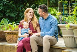 New mom 'surrounded by family'