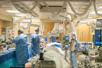 Patient undergoing heart surgery